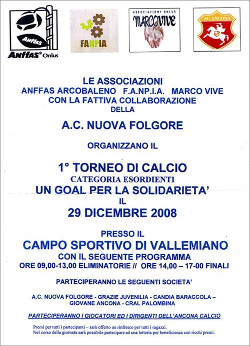 29/12/2008 – Un goal per la solidarietà